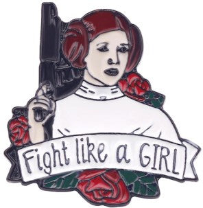 Enamelled Brooch/Pin- Leia Fight Like a Girl