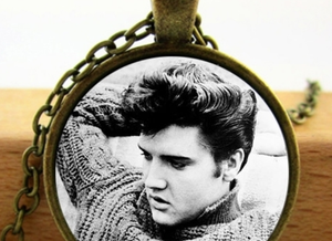 Elvis Dome Necklace - B&W Photo Portrait