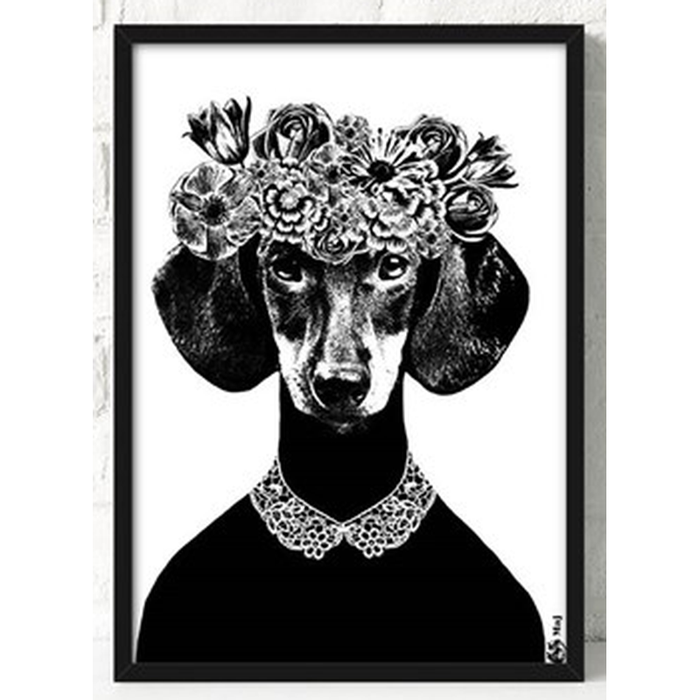 Dachshund B&W Framed Canvas Art