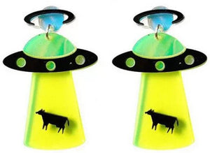 UFO Alien Cow Acrylic Earrings