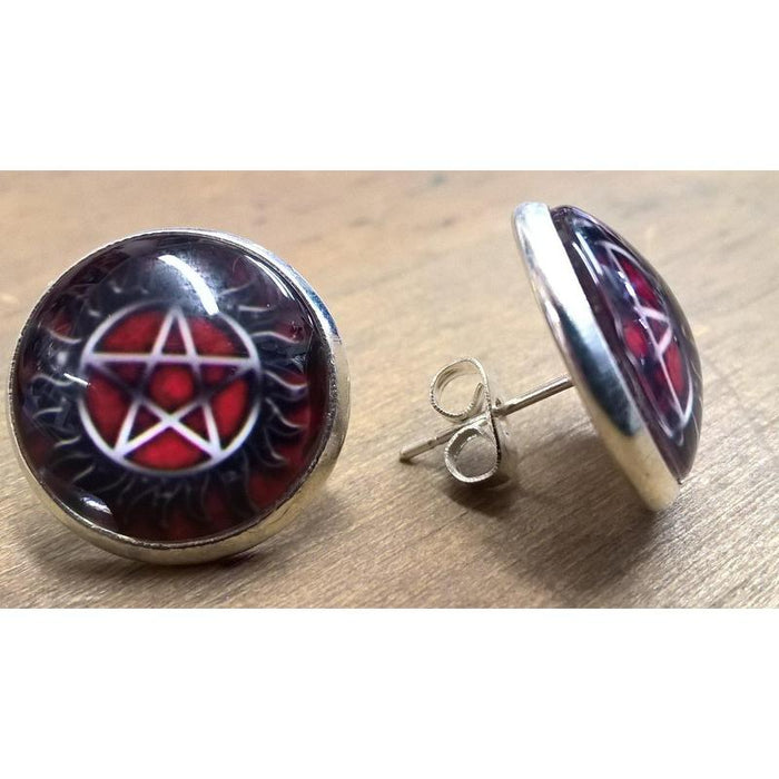 Supernatural Pentacle Red Stud Earrings