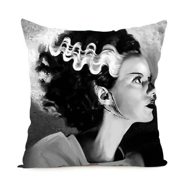 Cushion - The Bride of Frankenstein's Monster B&W