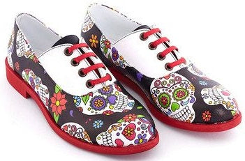 Streetfly Sugar Skull Lace-up Shoes