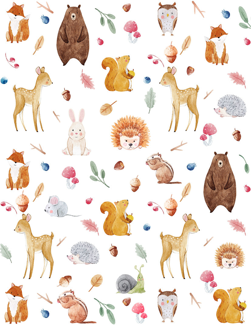 Overglaze decal - Forest Animals