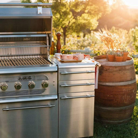 "American Muscle Grill by Summerset 54"" 8-Burner Freestanding Dual Fuel Wood / Charcoal / Gas Grill"