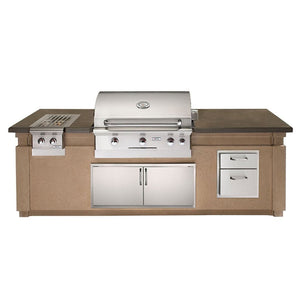 "American Outdoor Grill 108"" 790 GFRC Pre-Fab Island with Double Drawer Cut-out ID790-CBD-108SM"