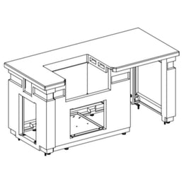 "American Outdoor Grill 75"" 430 GFRC Pre-Fab Island with Double Drawer Cut-out ID790-CBD-108SM"