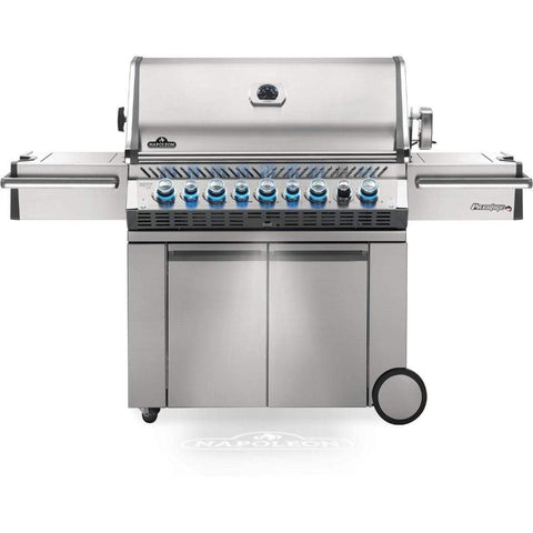"Image of Napoleon 77"" Prestige PRO 665 Freestanding Gas Grill with Infrared Rear Burner and Infrared Side Burners Natural Gas / Stainless Steel PRO665RSIBNSS-3"