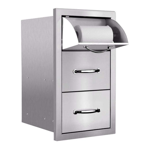 "Image of Summerset 17"" Stainless Steel Vertical 2-Drawer & Paper Towel Holder Combo with Masonry Frame Return SSTDC-17M"