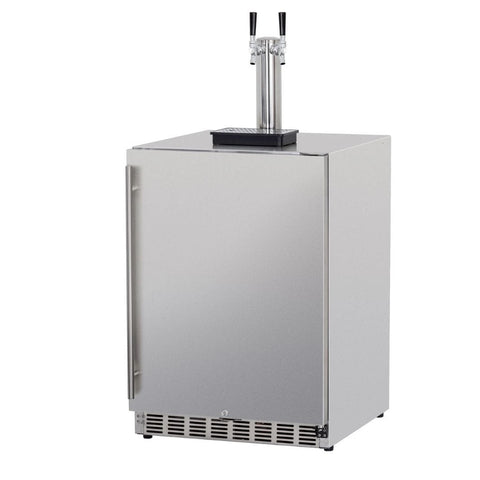 "Image of Summerset 24"" 6.6 Cu. Ft. Outdoor Rated Double Tap Beer Kegerator/Dispenser SSRFR-24DK2"