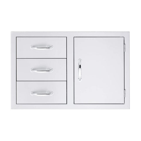 "Image of Summerset 33"" Stainless Steel Double/Triple Drawer & Access Door Combo 3-Drawer & Access Door SSDC3-33"