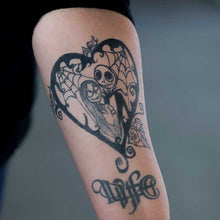 Load image into Gallery viewer, Realistic temporary tattoos - Disney jack and Sally fake tattoos that look real.