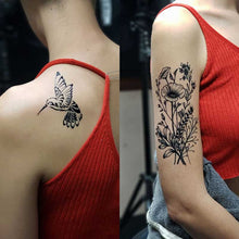 Load image into Gallery viewer, humming bird flower temporary tattoo created with black jagua ink and stencils