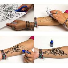 Load image into Gallery viewer, Henna tattoo stencil application process - Design of henna created with stencils.