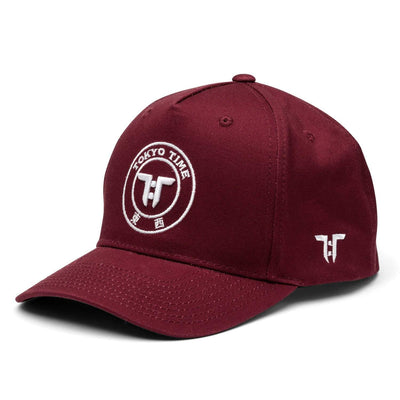 Tokyo Time Core Cap - Claret Red/White Adult Snapback Baseball Cap