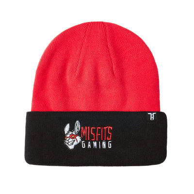 "Tokyo Time ""Misfits Gaming"" Collab Beanie Hat - Black/Red"