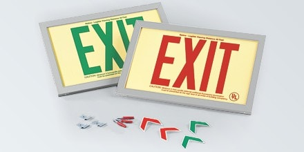 Red EXIT Sign in Brushed Aluminum Frame: Red Text on P/L Rigid, 600127