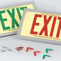 Green EXIT Sign in Brushed Aluminum Frame: Green Text on P/L Rigid, 600126
