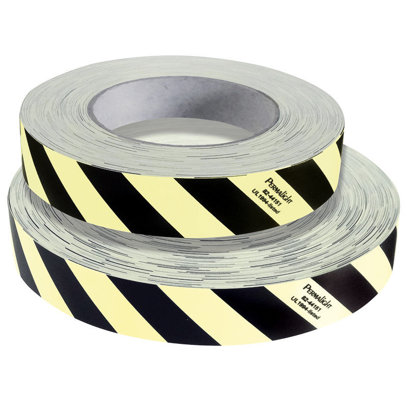 "Black/White Obstacle Marking Tape, Photoluminescent, 1""X64', 82-44151L"