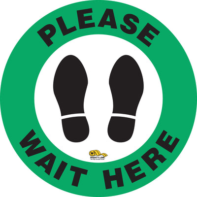 Please Wait Here Floor Marking Sign - Social Distancing Floor Sign