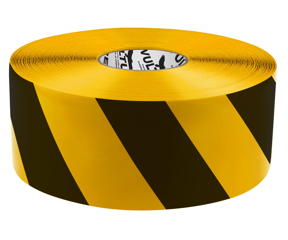 "Floor Marking Tape, Striped Hazard, Continuous Roll, 4"" Roll, 1 EA, 45VR93"