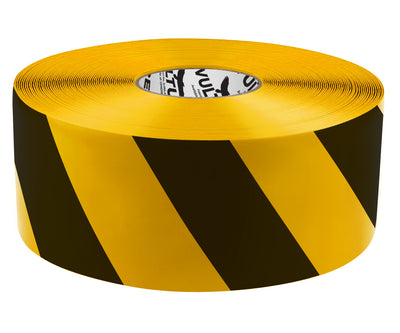 Floor Marking Tape, Striped Hazard, Continuous Roll, 4