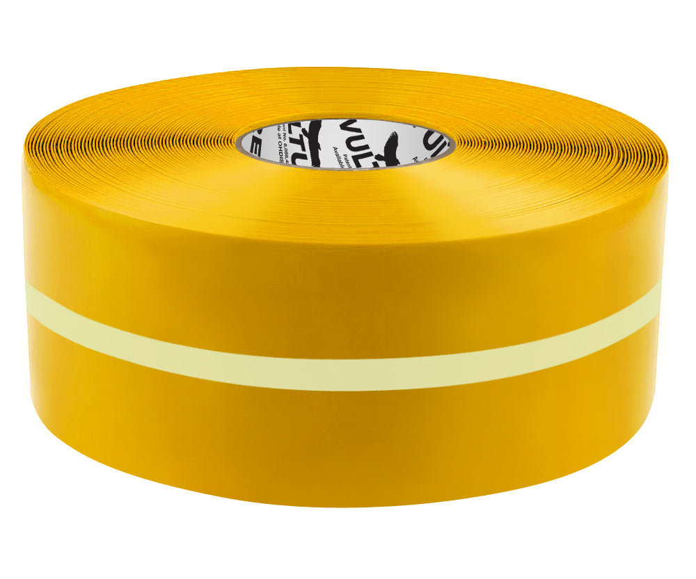 "Glow in the Dark Marking Tape, Solid with Glowing Center Line, Continuous Roll, 4"" Roll, 1 EA, 45VR73"
