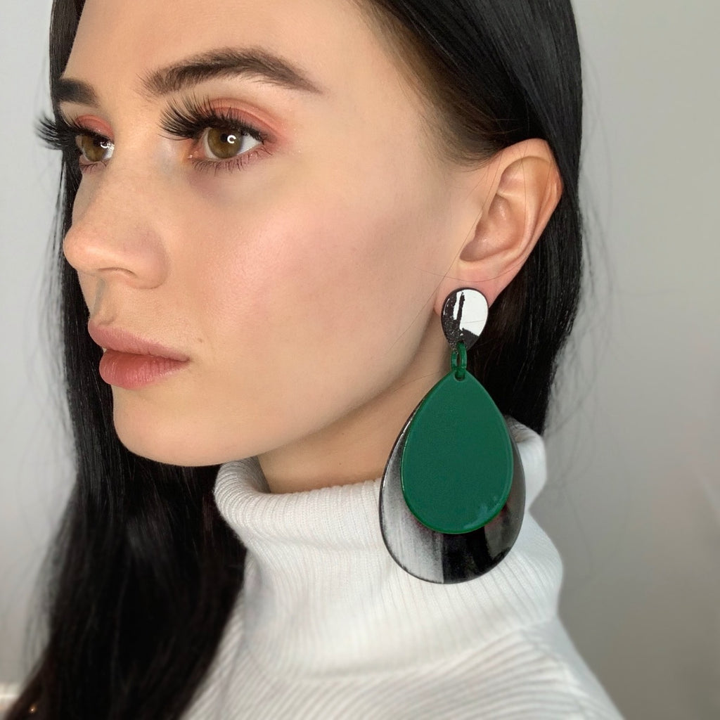 Ally Teardrop Grey and Green Fashion Statement Earrings