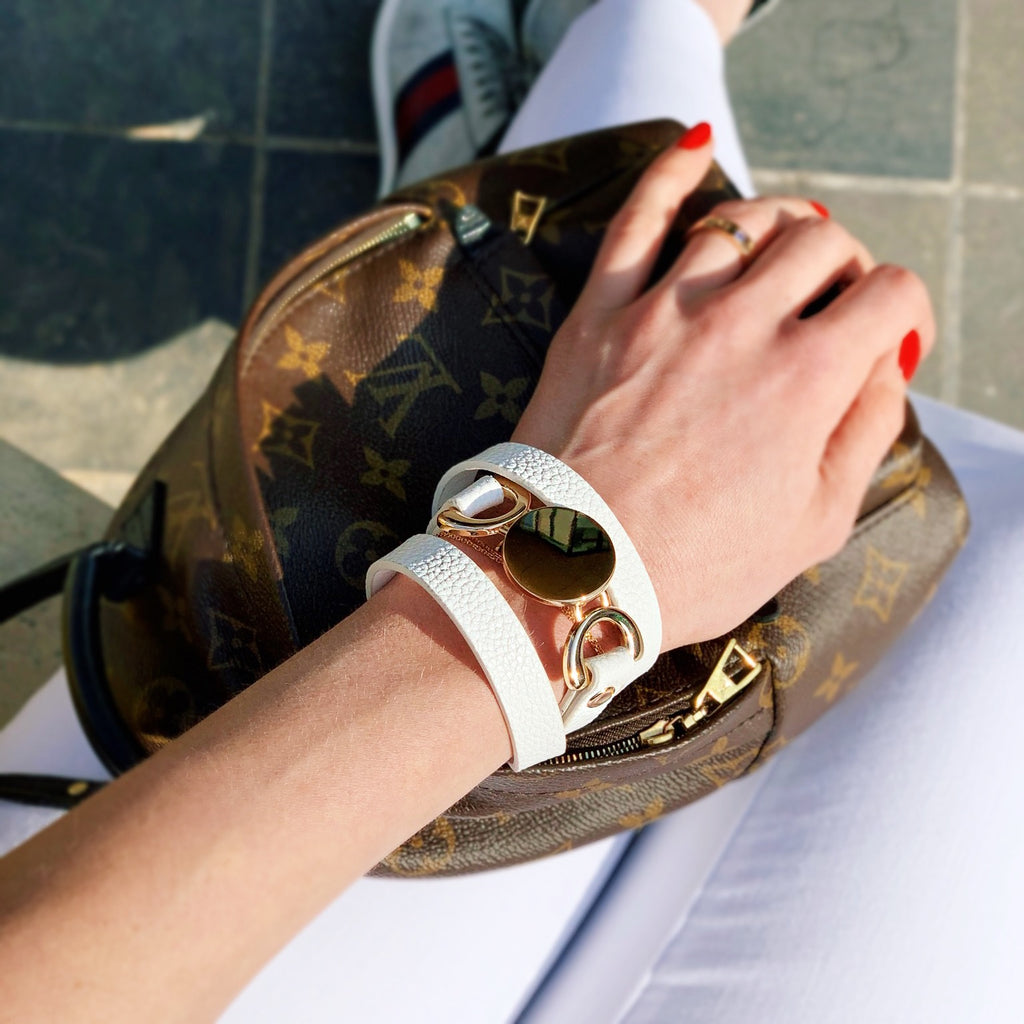 Leather Layered White Bracelet