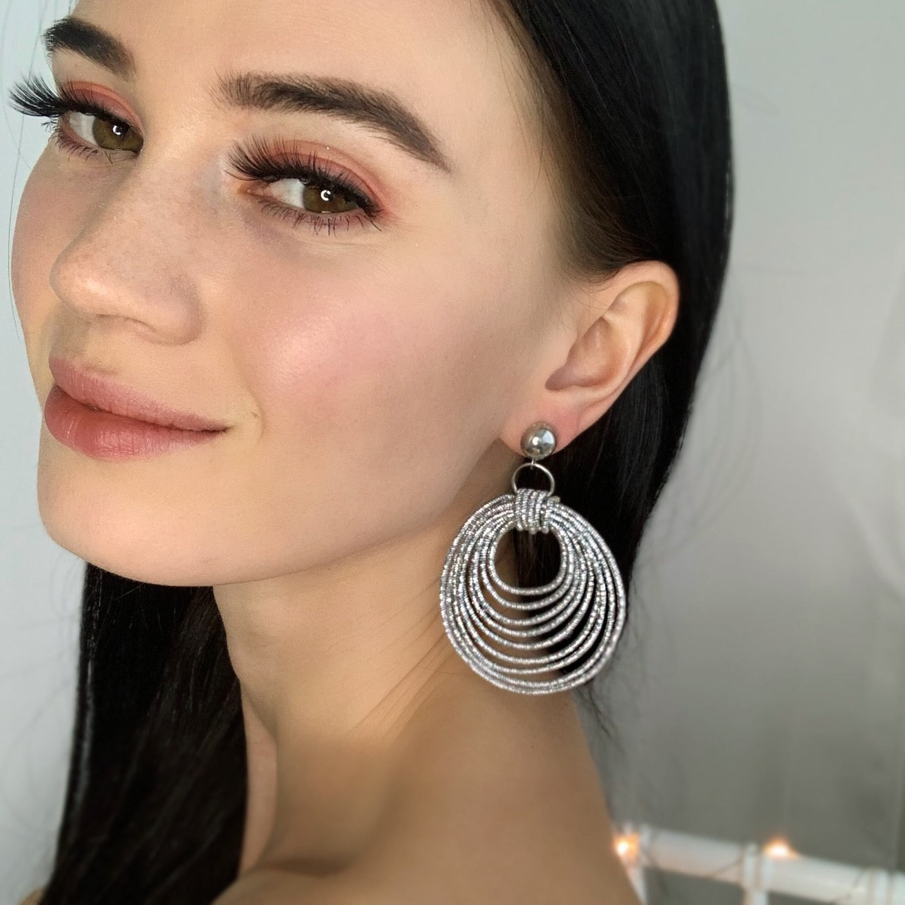 Kayla Silver Statement Fashion Earrings