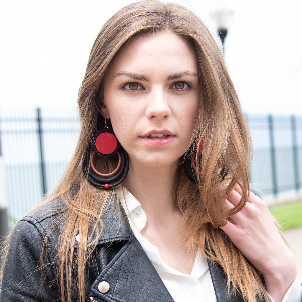 Streetstyle Red Lightweight Fashion Statement Earrings