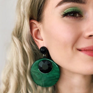 Statement Green Fashion Statement Earrings