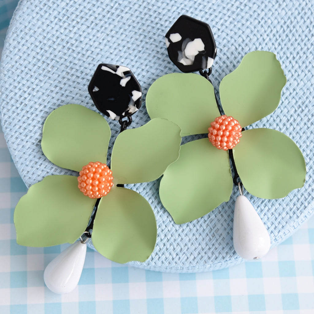 Bloom Green Fashion Statement Earrings