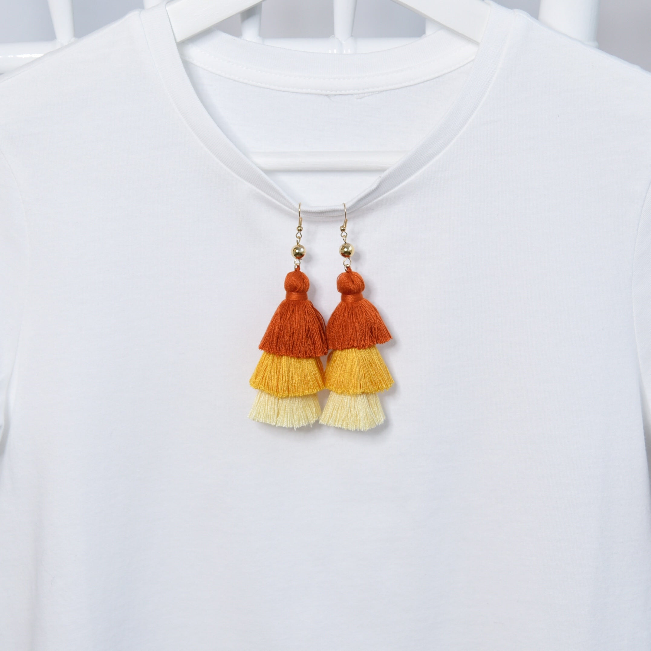 Tassels Orange Lightweight Fashion Statement Earrings