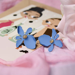 Lotus Blue Fashion Lightweight Earrings