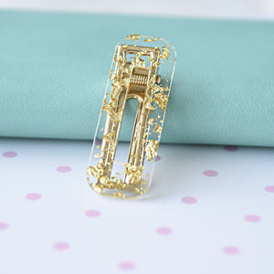Hair Clip Shimmery Gold Rectangle