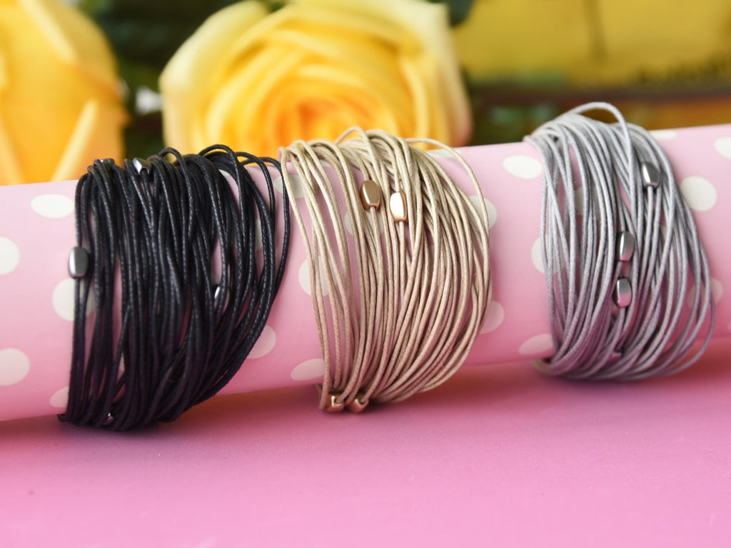 Black Textured Layered Bracelet