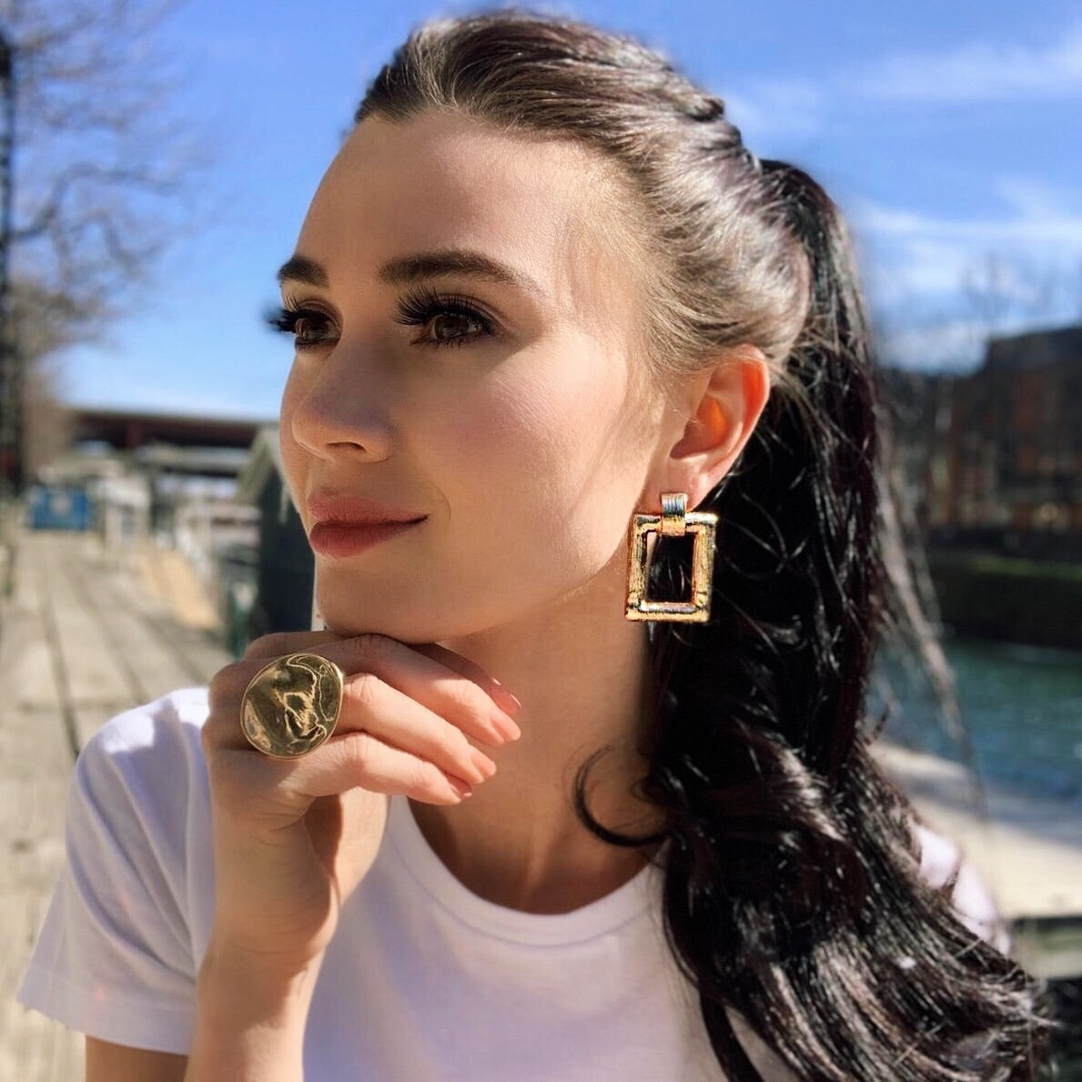 Luna Gold Statement Fashion Earrings