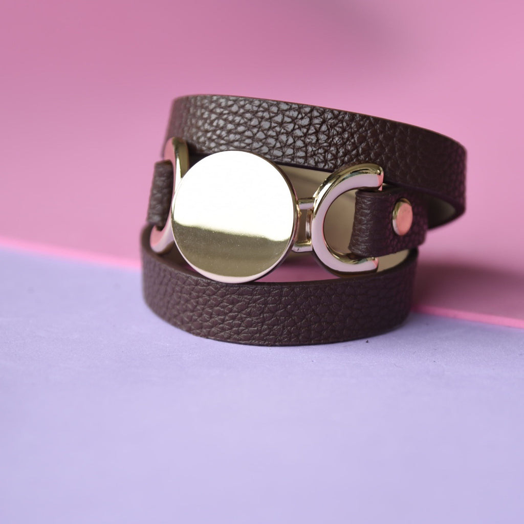 Leather Layered Chocolate Bracelet