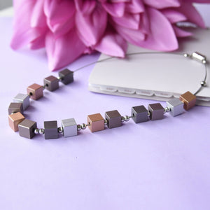 Nude Squares Lightweight Fashion Necklace