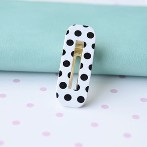 Hair Clip Polka Dot Rectangle