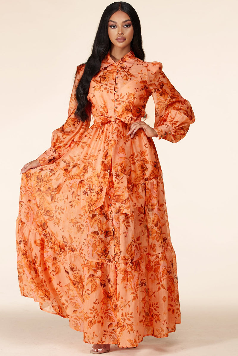 ROBE LONGUE  FLORALE ORANGE