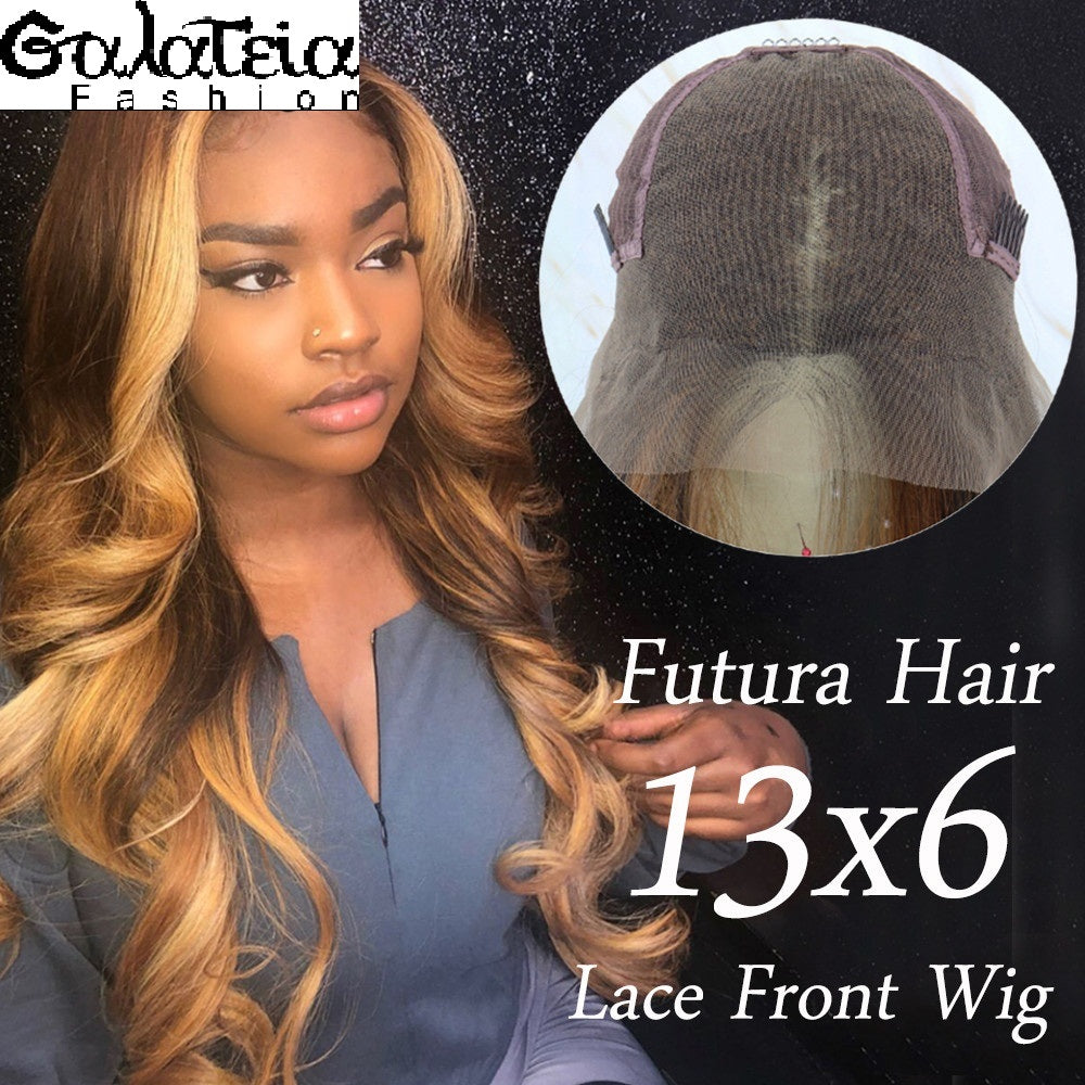PERRUQUE  SYNTHÉTIQUE FIBRE FUTURA BODY WEAVE OMBRE HIGHLIGHT MARRON  AVANT DENTELLE SUISSE 13X6