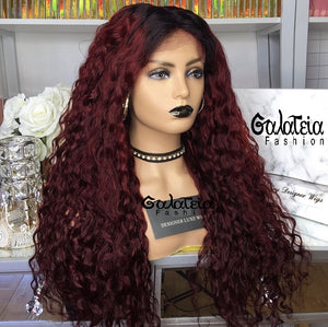 "PERRUQUE ""FAYANNA"" CURLY OMBRE BORDEAUX"