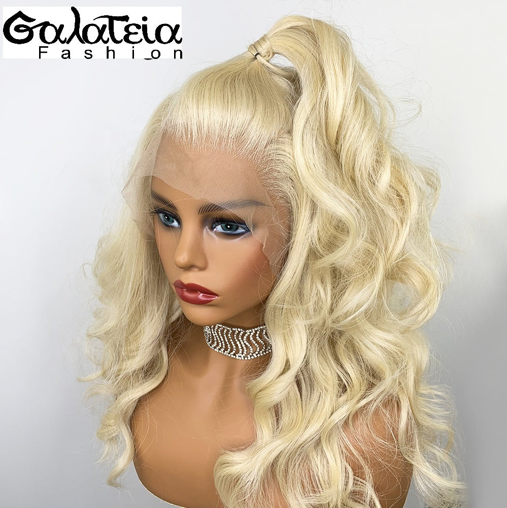 PERRUQUE SYNTHÉTIQUE FIBRE FUTURA BODY WEAVE  BLONDE 613 AVANT DENTELLE SUISSE