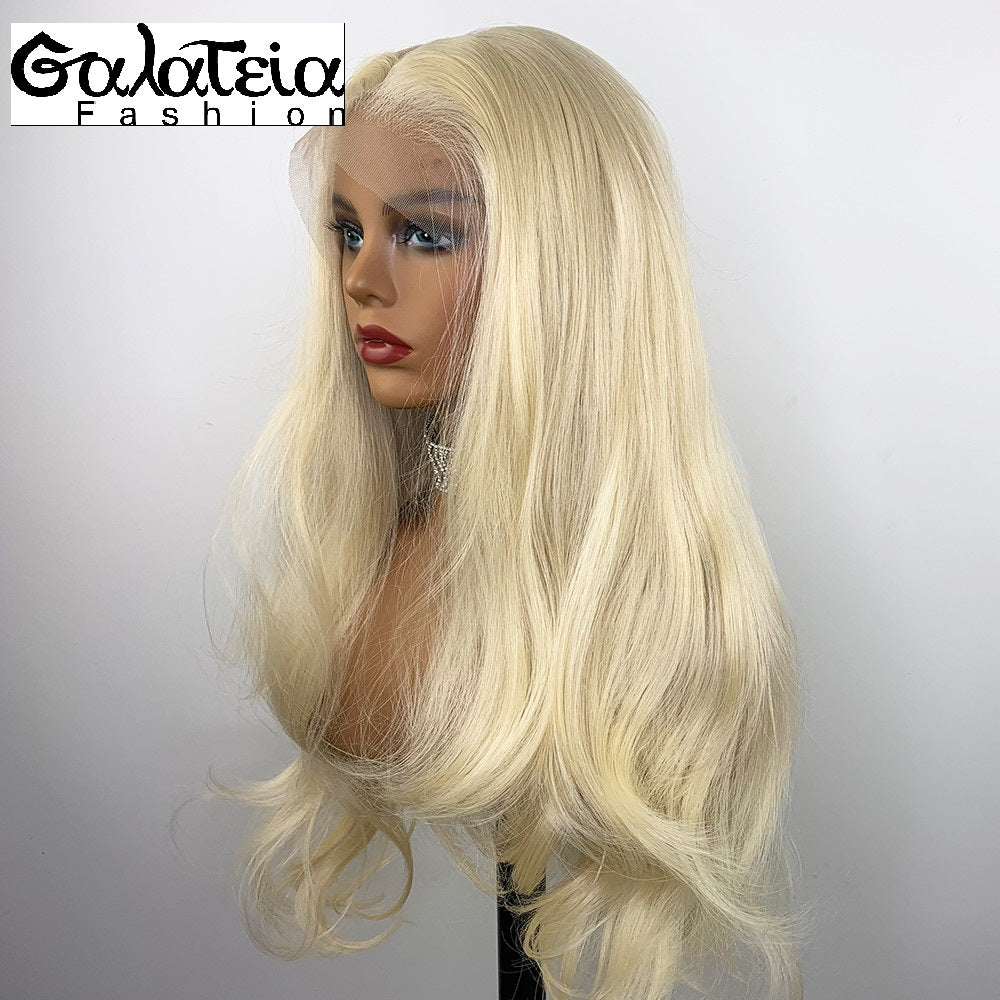 PERRUQUE BODY WAVE  SYNTHÉTIQUE FIBRE FUTURA  BLONDE 613 AVANT DENTELLE  SUISSE 13X6