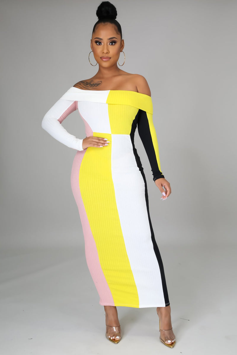 Robe longue color block