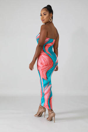 ROBE  CRAYON MOULANTE DANAE   MULTI COULEUR