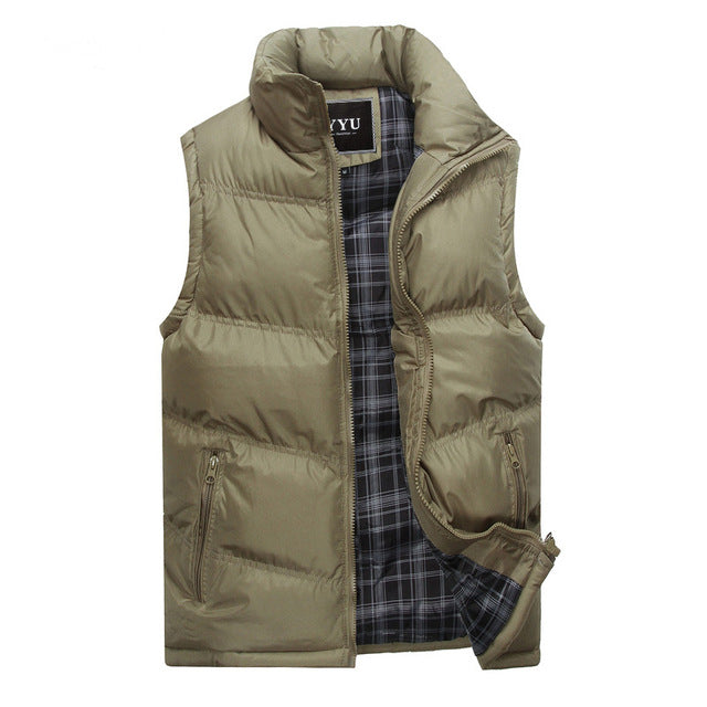 New Brand Mens Jacket Sleeveless Vest Winter Fashion Casual Coats Male Cotton-Padded Men's Vest Men Thicken Waistcoat 3XL X378-cgabuy