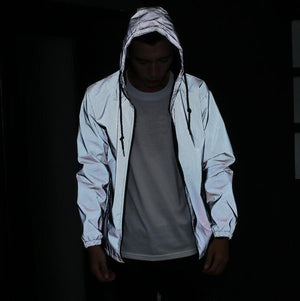 Fashion Jacket Men 3M Reflective Skateboards Triangle Windproof Raincoat Raincoat Outerwear coat-cgabuy